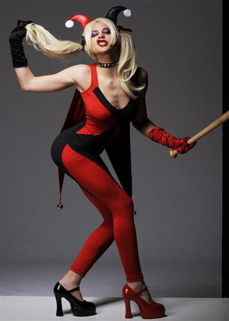 harley quinn jumpsuit costume womens harley quinn style catsuit costume
