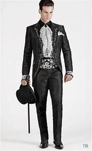 Viktorianischer Stil Kleidung : abito da cerimonia uomo broccato nero ricamato nero e argento festive men dress fashion ~ Watch28wear.com Haus und Dekorationen