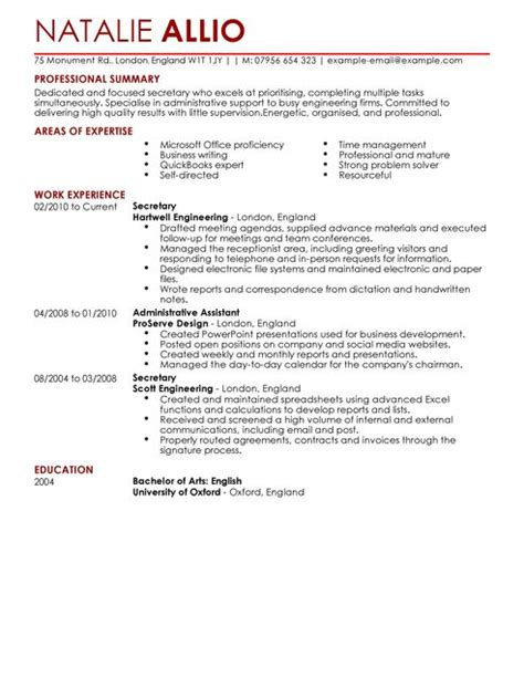 Administrative Assistant Resume Exles 2014 by Admin Assistant Cv Exle For Admin Livecareer