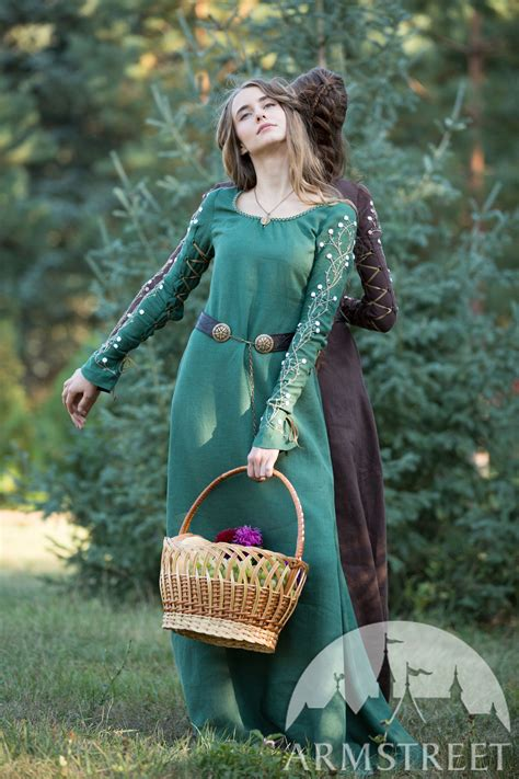 linen dress  embroidered sleeves fairy tale  sale   green flax linen
