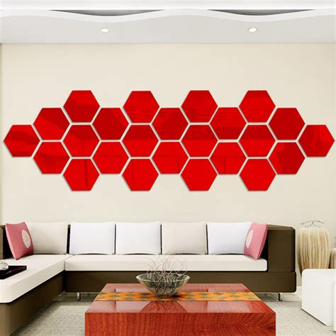 The piece looks great hanging in multiples. Carevas 12 Piece 3D Hexagon Acrylic Mirror Wall Stickers ...
