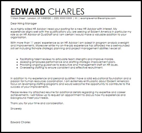 hr advisor cover letter sample cover letter templates examples