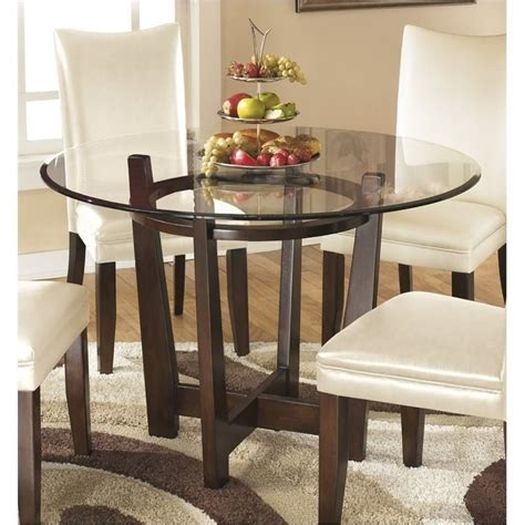 bowery hill glass  dining table  medium brown bh