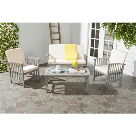safavieh rocklin 4 patio seating set with beige