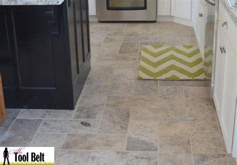 Silver Travertine Tile Herringbone Floor Tutorial-her