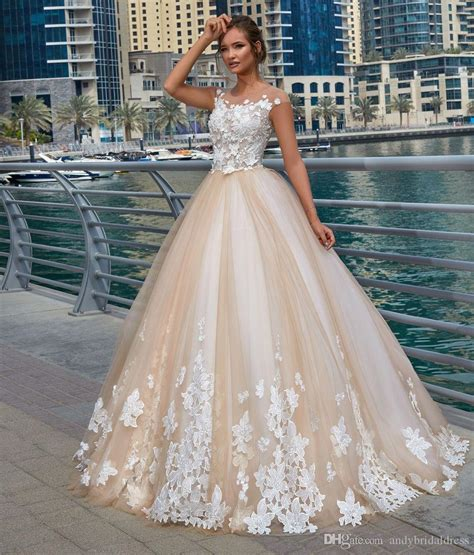 2018 New Cap Sleeves Champagne Wedding Dress Ball Gown