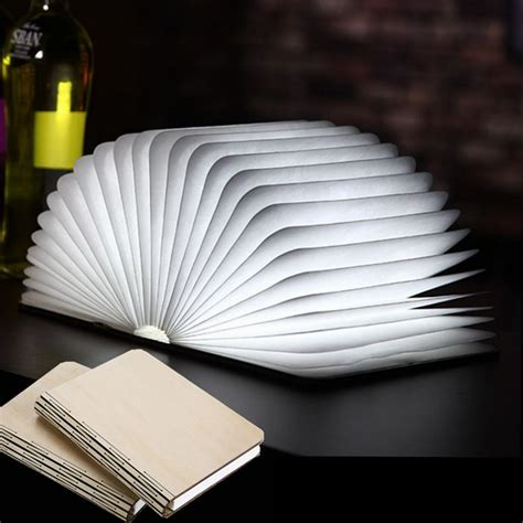 led book shape light portable paper folding light book
