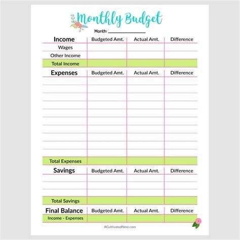 printable monthly budget template printable monthly budget template a cultivated nest