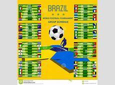 2014 Football Tournament Schedule Brazil Vector Editorial