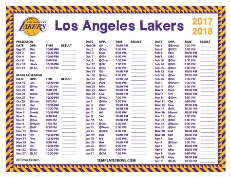 printable   los angeles lakers schedule