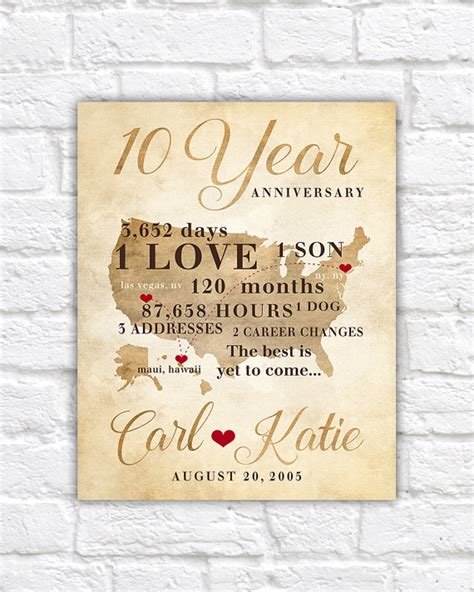 10 year anniversary gift for 10 year anniversary gift gift for men women his hers 10th