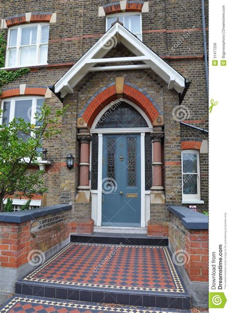 victorian house green door london uk royalty  stock