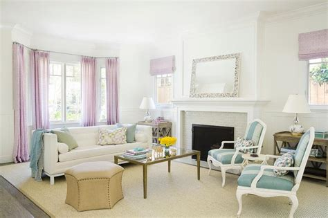blue and lavender living room design transitional living room