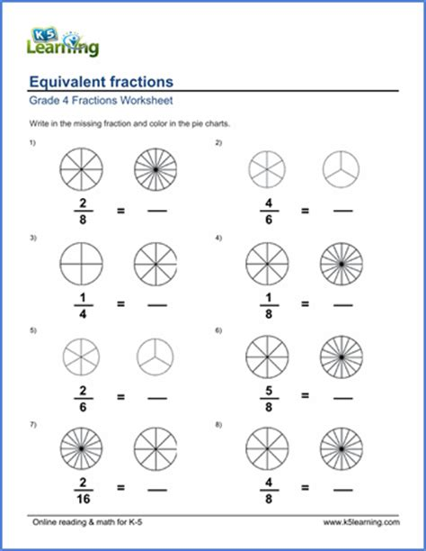 grade  math worksheets writing equivalent fractions