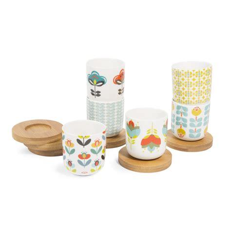 coffret  tasses  soucoupes en porcelaine brigitte maisons du monde