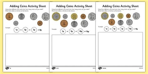 adding coins worksheet money addition resources