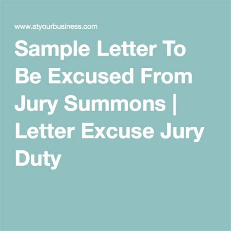 sample letter   excused  jury summons letter