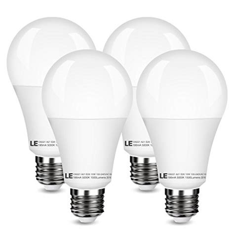le 4 pack 15w led a21 e26 bulbs 100w bulbs equivalent