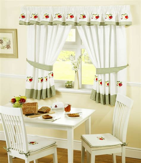 apples  pears green red gingham kitchen curtains