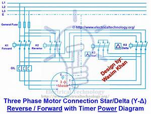 Three Phase Motor Connection Star  Delta  Y  Forward With Timer Power  U0026 Control