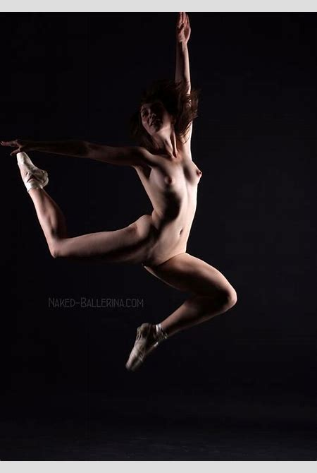 Naked ballerina is dancing nude before the camera