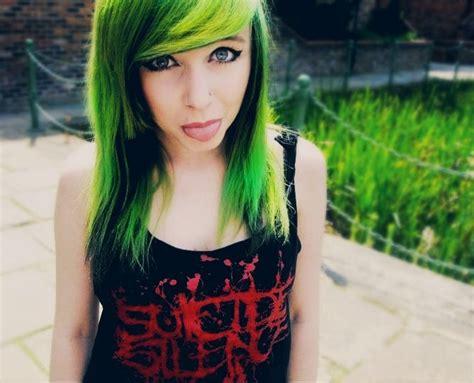 Lime Green And Black Hair Hair Pinterest Scene Hair