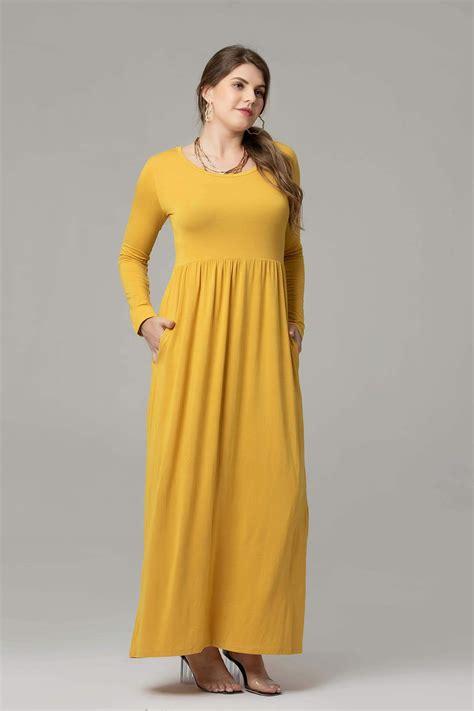 Larace women Casual Long Sleeve Loose Plain Maxi Pockets ...