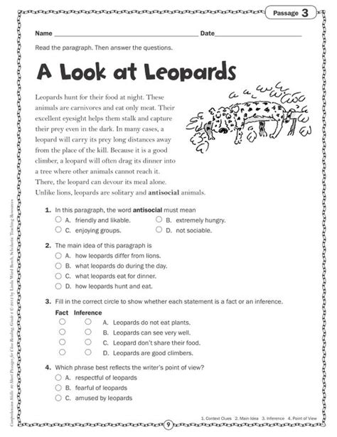 comprehension worksheets for grade 4 comprehension skills gr 4 40 passages for