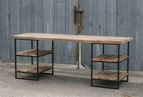 wood and steel desk combine 9 industrial furniture reclaimed wood desk