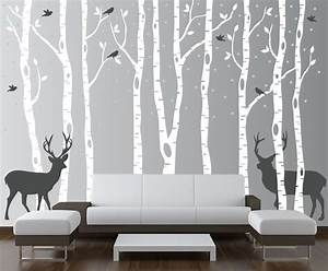 Birch tree wall decal forest with birds and deer vinyl for Forest wall decals