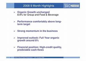 Nestle 2008 Q3 earnings results