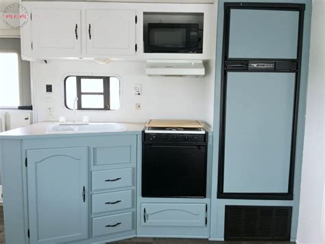 painting rv cabinets easy rv remodeling rv makeover reveal