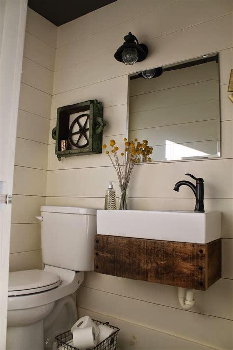 Reclaimed Bathroom Vanity by Remodelaholic Reclaimed Wood Floating Vanity