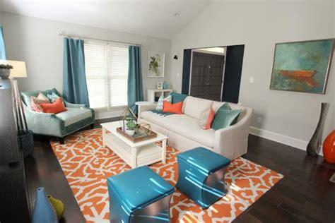 teal and orange living room decor photo page hgtv
