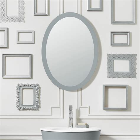 Framed Oval Bathroom Mirror by 23 Quot Contemporary Solid Wood Framed Oval Bathroom Mirror