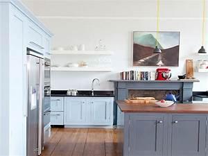 Kitchen island design ideas, gray and white kitchens blue