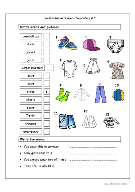 Vocabulary Matching Worksheet  Elementary 27 (clothes) Worksheet  Free Esl Printable