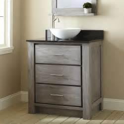 30 quot venica teak vessel sink vanity gray wash bathroom