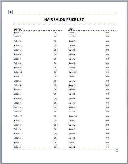 hair salon price list template hair salon price list