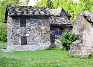 A Group Of Typical Old Stone Buildings Along The Path From Valnontey To Valmiana   Photos