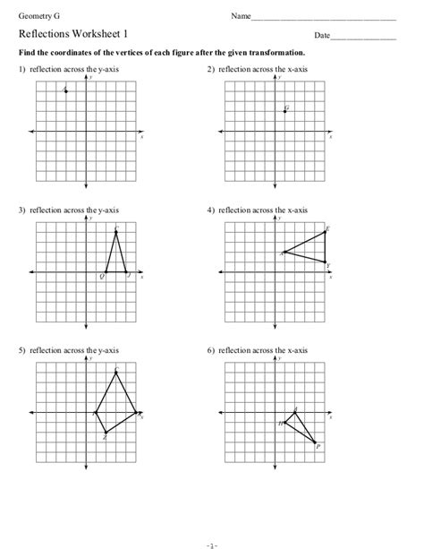 reflections worksheet1student