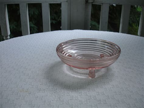 Pink Depression Glass Manhattan 3 Footed Candy Dish   6 1