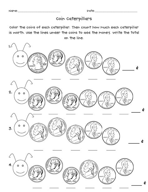 coin caterpillarspdf  images money math