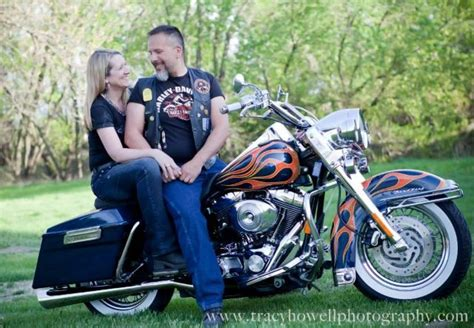 Couple With Motorcycles Portrait By Tracy Howell