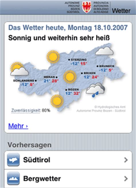 sudtirol mobil wetter mobil wetter autonome provinz bozen s 252 dtirol