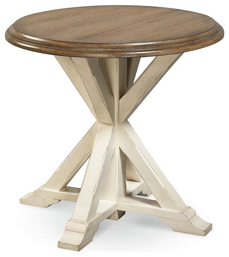 By helping you maximize every square inch of your small space, round coffee tables give you more walking room, allowing for better traffic flow. Coastal Oak Round End Table, White - Beach Style - Side Tables And End Tables - by Zin Home