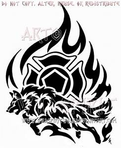 Firefighter Tribal Flame Wolf Design by WildSpiritWolf on ...