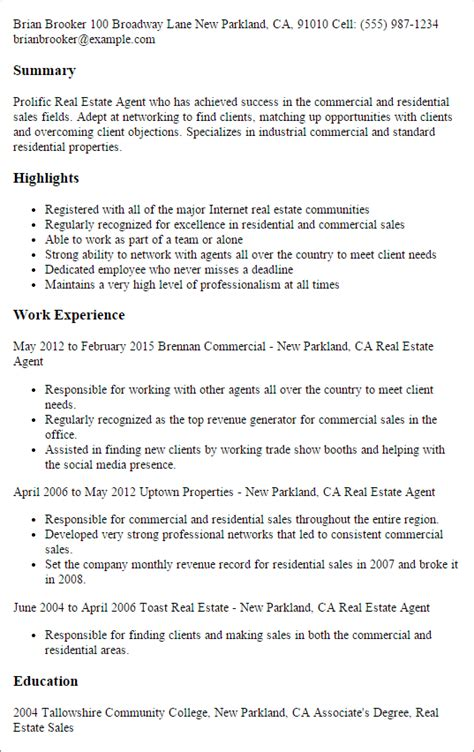 Resume Summary For Real Estate Professional by Professional Real Estate Templates To Showcase Your Talent Myperfectresume