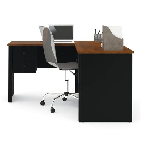bestar somerville l shaped desk in black and tuscany brown