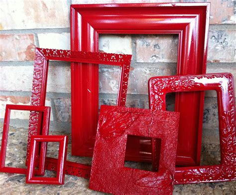 home interior frames upcycled frames vintage red frames unique home decor by fefifofun